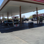 ENERGY SAVING RETROFIT LIGHTING SYSTEM | The gas canopy at a Circle K store with LED lighting. Duffy Electrical Contractors had the contract to refit 150 stores in Tucson and Phoenix. Over 1,400 light fixtures were retrofitted from 400 watt HID type fixtures to 150 watt LED. The annual savings in energy dollars only (not counting savings from being maintenance free) is projected to be $235,000.00.